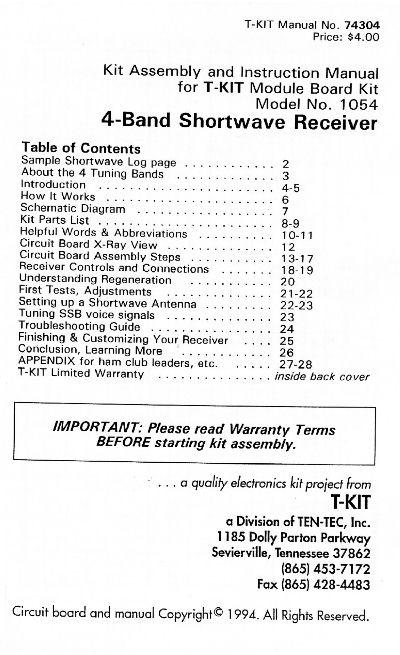 ten tec 1054 shortwave radio kit rh prismnet com Ten-Tec Jupiter Ten Tec Omni VII